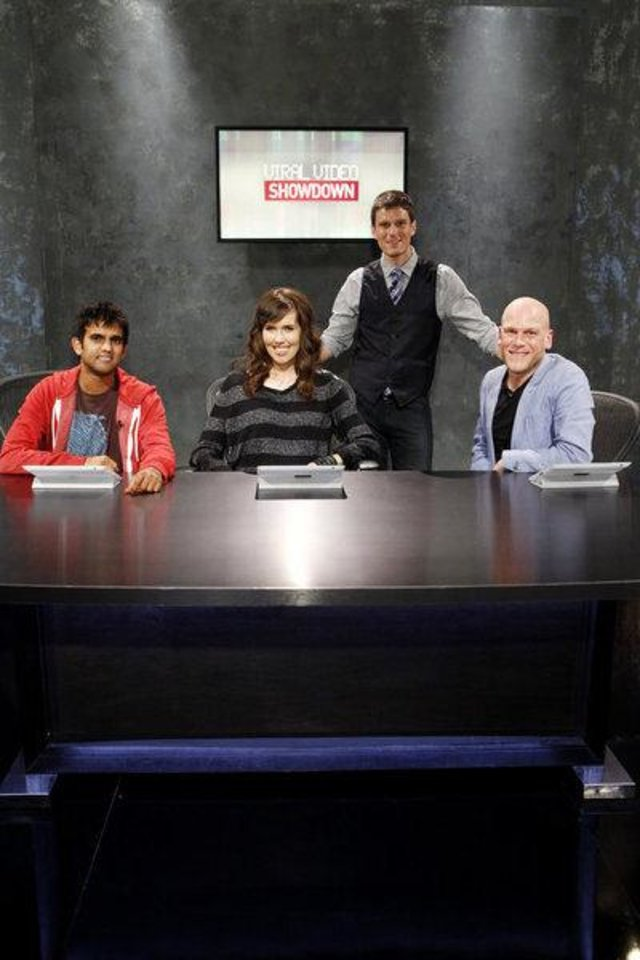 "From left, judges Sandeep Parikh, Brittani Taylor, host Kevin Pereira and judge Adam Sessler are shown on the set of ""Viral Video Showdown."" SYFY PHOTO <strong>Syfy</strong>"
