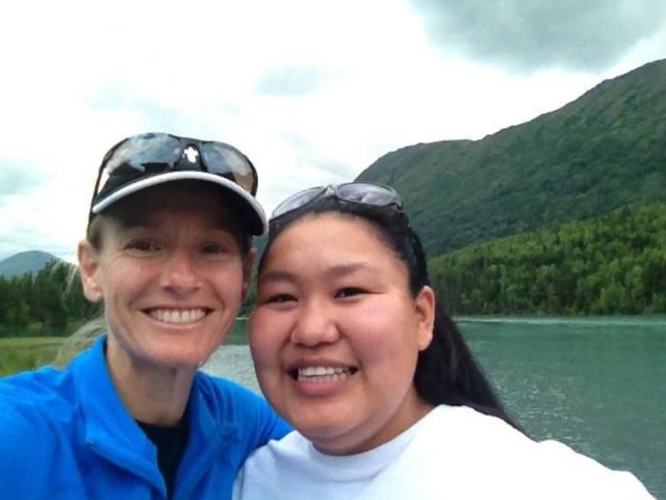 Photo -       Amy Donaldson with her sister Ernie Donaldson on a hike in Alaska last summer.