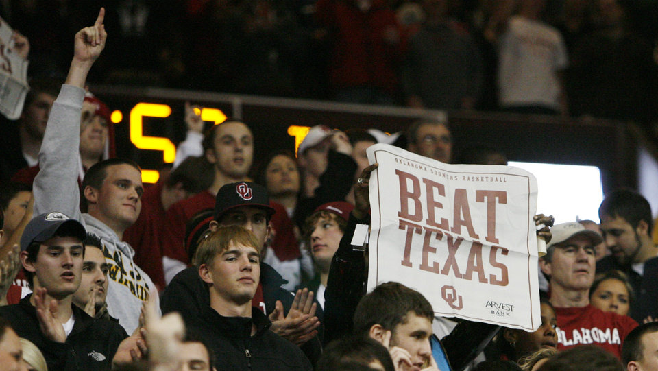 An OU fan holds a sign before the Big 12 men's college basketball game between the University of Oklahoma and Texas at the Lloyd Noble Center in Norman, Okla., Monday, January 12, 2009. Photo By Nate Billings, The Oklahoman