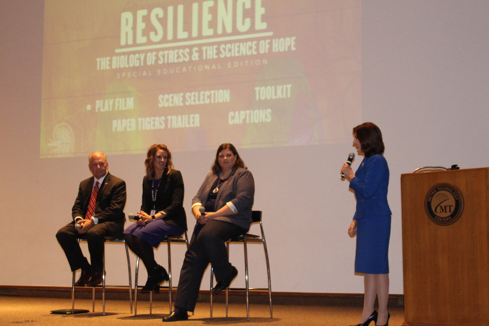 Photo - State Superintendent Joy Hofmeister moderates a panel consisting of David Prater, Oklahoma County District Attorney; Megan Bryant, Mid-Del Schools and Dr. Deb Shropshire following the Resilience film last October.