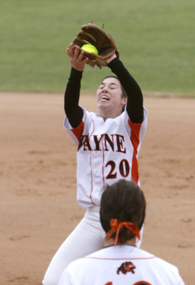 Wayne\'s Caleigh Clifton catches a fly ball during the class 2A Girl\'s State Softball playoffs at the ASA Hall of Fame Stadium in Oklahoma City, OK, Friday, October 5, 2012, By Paul Hellstern, The Oklahoman