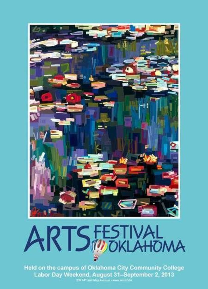"""Photo -  Dallas """"swatch"""" painter Jennifer Lashbrook, the featured artist at the 2013 Arts Festival Oklahoma, creates her mixed-media paintings out of carefully cut out and arranged paint swatches."""