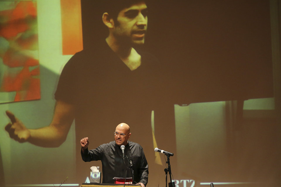 Photo - Roy Singham, Founder and chairman of Freedom to Connect speaks during the memorial service for Aaron Swartz, Saturday, Jan. 19, 2013 in New York. Friends and supporters of Swartz paid tribute Saturday to the free-information activist and online prodigy, who killed himself last week as he faced trial on hacking charges. (AP Photo/Mary Altaffer)