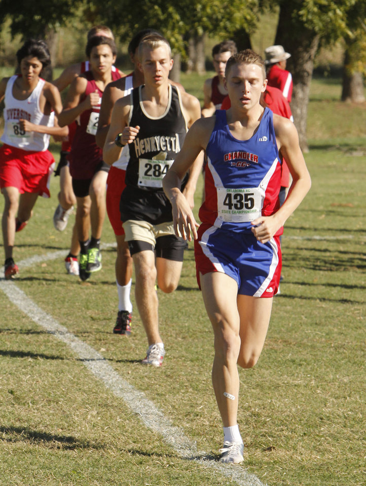 Chandler's Chris Lowery takes an early lead before winning the class 3A boys State cross country meet at Gordon Cooper Vo-Tech in Shawnee, OK, Saturday, October 20, 2012,  By Paul Hellstern, The Oklahoman