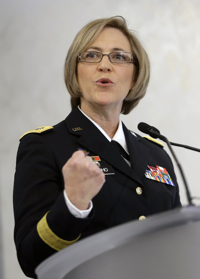 Lt. General Patricia Horoho, Surgeon General of the Army, speaks during an NFL football news conference in New York, Monday, March 11, 2013. The U.S. Military is partnering with the NFL, GE, and others to further research on head injuries.  (AP Photo/Seth Wenig)