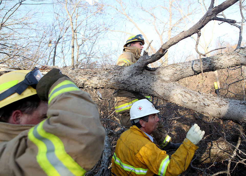 Photo - Lone Grove firefighter Greg Allen (top) and volunteer Jack Brown search through broken trees north of highway 70 in Lone Grove following deadly storms around Lone Grove, Okla., Feb. 11, 2009. By John Clanton, The Oklahoman