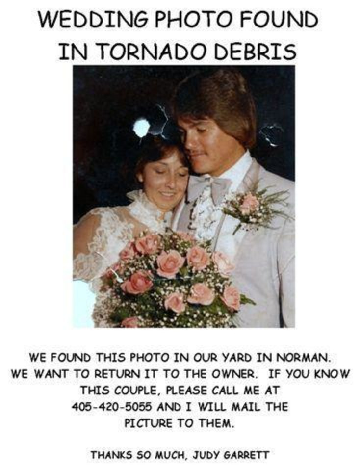 wedding photo found in tornado debris