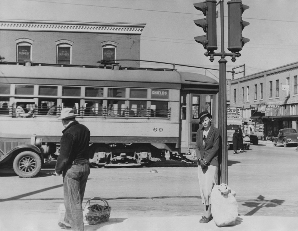 Trolley tracks split Shields Boulevard in 1937, and the electrical cars carried shoppers to the Capitol Hill business district in south Oklahoma City. Staff photo by Alphia O. Hart, The Oklahoman archive. ALPHIA HART