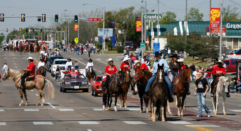 Riders wait for their turn at the judges table during the Norman 89er Day Parade in downtown Norman, Oklahoma on Saturday, April 19, 2008.  BY STEVE SISNEY, THE OKLAHOMAN