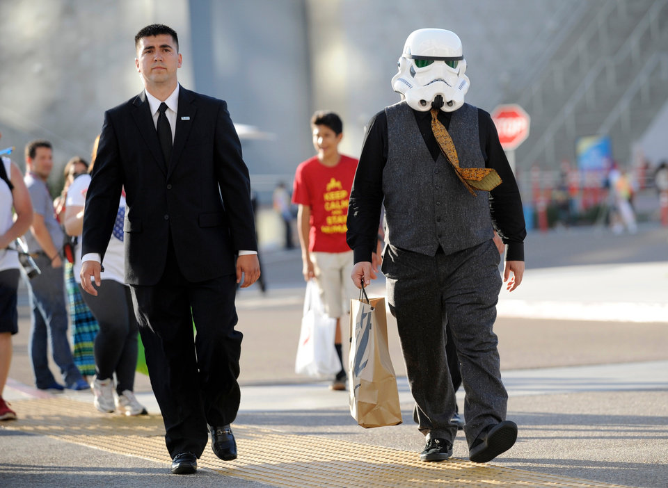 Photo - AP10ThingsToSee - Actor Jack Black, wearing a stormtrooper mask from the