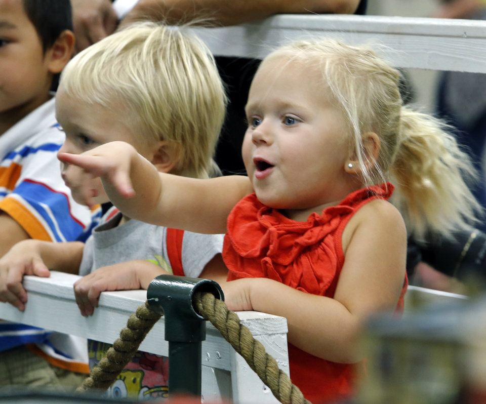 Zadie Curley, 2, points out an interesting train during Train Days at the library on Saturday, Aug. 17, 2013 in Norman, Okla.  Photo by Steve Sisney, The Oklahoman