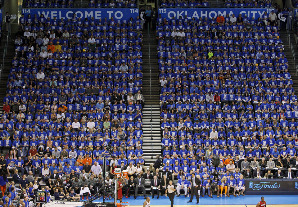 Fans watch during Game 1 of the NBA Finals between the Oklahoma City Thunder and the Miami Heat at Chesapeake Energy Arena in Oklahoma City, Tuesday, June 12, 2012. Photo by Bryan Terry, The Oklahoman
