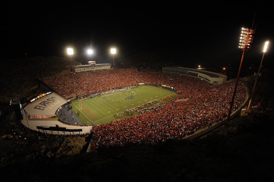 UTEP stadium at night. PHOTO PROVIDED BY UTEP ATHLETICS
