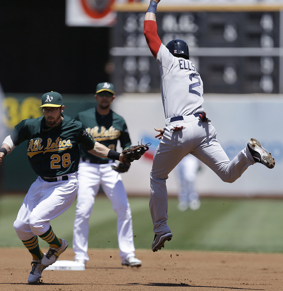 Photo - Boston Red Sox's Jacoby Ellsbury, right, is tagged out by Oakland Athletics second baseman Eric Sogard in the first inning of a baseball game Sunday, July 14, 2013, in Oakland, Calif. Boston's Daniel Nava was out at first on the double play. (AP Photo/Ben Margot)