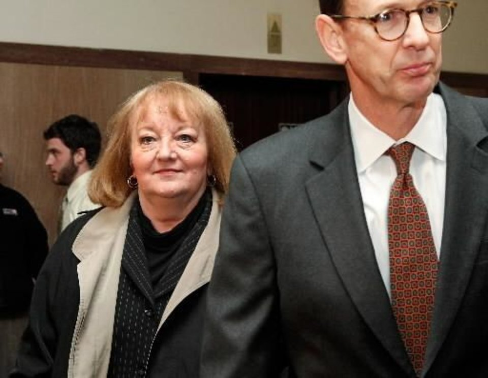 Former state Sen. Deborah Leftwich, left, and her attorney appear before Special Judge Russell Hall in an Oklahoma County court Monday, Jan. 3, 2011, to enter a plea on bribery charges. Oklahoma County Special Judge Russell Hall entered not guilty pleas on Monday afternoon for Rep. Randy Terrill of Moore and former Sen. Debbe Leftwich of Oklahoma City. Hall set their next court appearance for March 17. Leftwich and Terrill are free on a $2,000 bond. The Oklahoman, Jim Beckel