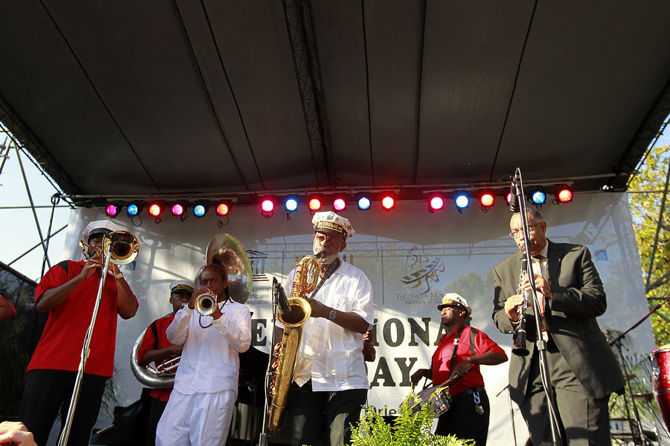 Photo -   The Treme Brass band performs at a sunrise concert marking International Jazz Day in New Orleans, Monday, April 30, 2012. The performance, at Congo Square near the French Quarter, is one of two in the United States Monday; the other is in the evening in New York. Thousands of people across the globe are expected to participate in International Jazz Day, including events in Belgium, France, Brazil, Algeria and Russia. (AP Photo/Gerald Herbert)