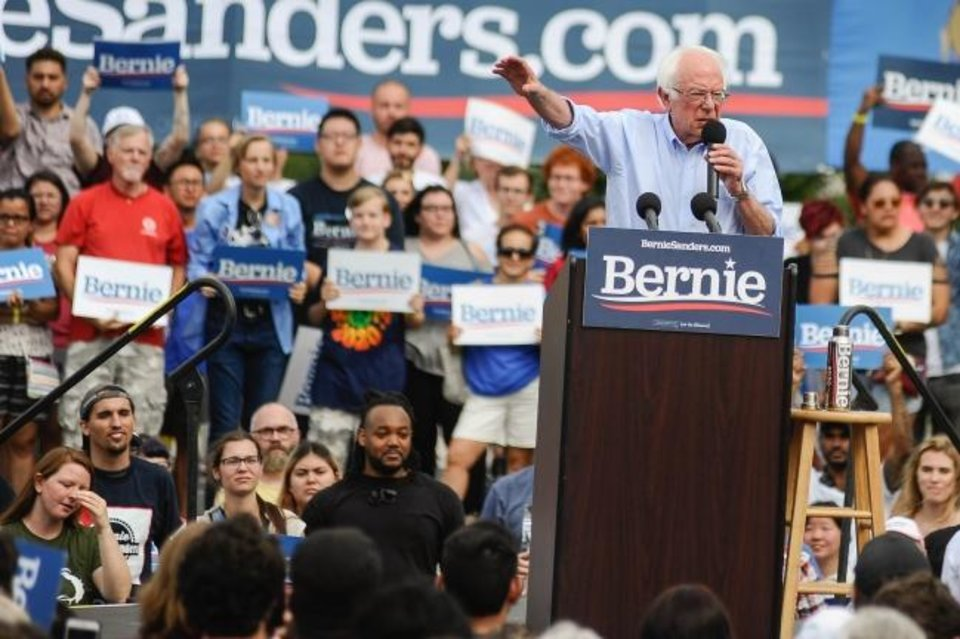 Photo -  Democratic presidential candidate and Vermont Senator Bernie Sanders talks to a crowd during a Sept. 22, 2019, rally at Reaves Park in Norman. [The Oklahoman Archives]