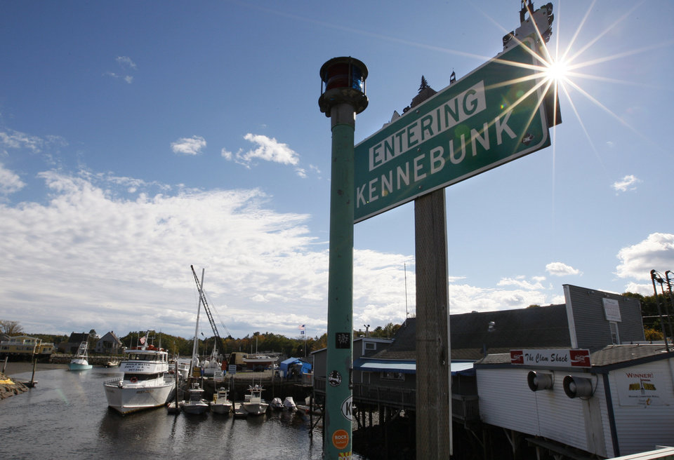 Photo -   A sign is seen near a marina in Kennebunk, Maine, Friday, Oct. 12, 2012. Curious residents in this seaside community may have to wait to learn which of their friends and neighbors stand accused of giving business to a fitness instructor charged with running a prostitution operation out of her Zumba studio. The police department's plan to release some of the more than 150 names of suspected clients was delayed Friday by last-minute legal wrangling. Alexis Wright, a 29-year-old fitness instructor from Wells, Maine, has pleaded not guilty to prostitution, invasion of privacy and other charges for allegedly accepting money for sex and secretly videotaping her encounters. Her business partner, Mark Strong Sr., a 57-year-old insurance agent and private investigator from Thomaston, Maine, pleaded not guilty to 59 misdemeanor charges.(AP Photo/Robert F. Bukaty)