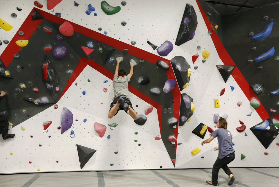 Photo - Bouldering wall inside Threshold Climbing, located at  6024 Westlake Memorial Pkwy, on Tuesday, July 25, 2017.  Photo by Jim Beckel, The Oklahoman