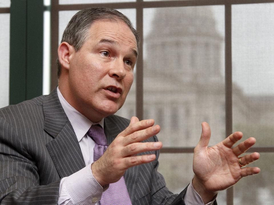 Oklahoma Attorney General Scott Pruitt in his office during an interview with an Oklahoman reporter on Wednesday, April 10, 2013.  by Jim Beckel, The Oklahoman.