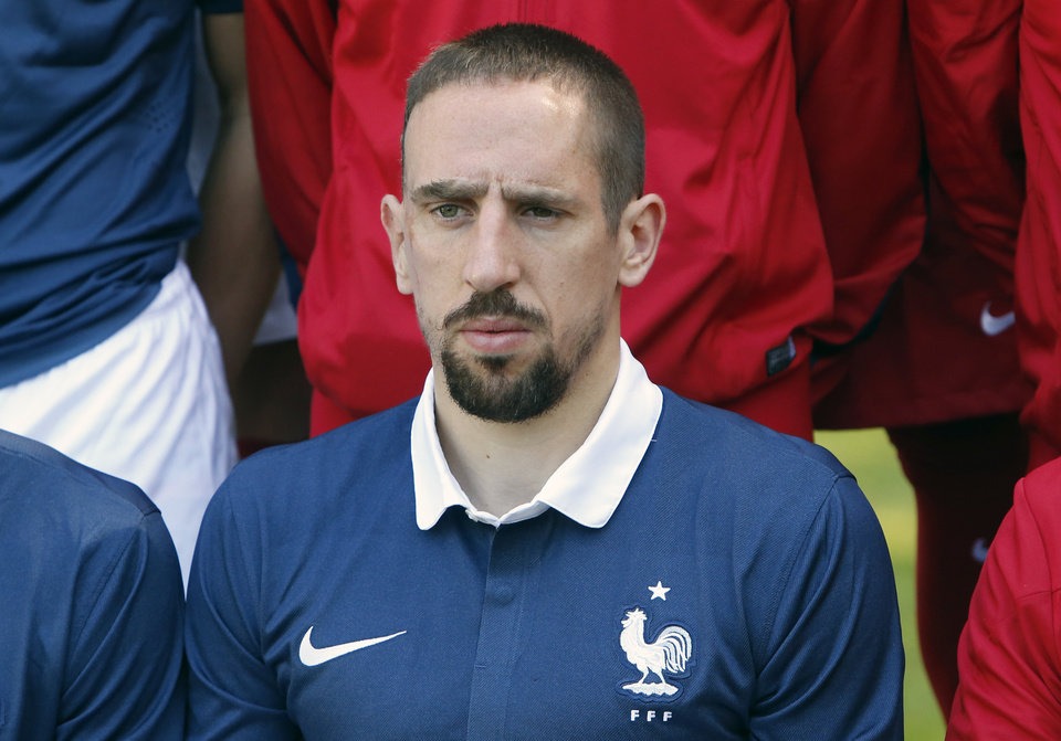 Photo - France's forward Franck Ribery poses for the team picture at the French national football team's training base, in Clairefontaine, outside Paris, Friday, June 6, 2014 as part of France's national football team's preparation for the upcoming FIFA 2014 World Cup in Brazil. (AP Photo/Francois Mori)