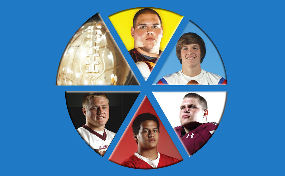 Photo - Clockwise from top: Clinton's Grant Lee, Oklahoma Christian School's Cameron James, Jenks' Trent Taber, Carl Albert's Robert Lolofie and Blanchard's Braden Stringer are all chasing another gold ball.  PHOTOS BY NATE BILLINGS, SARAH PHIPPS, CHRIS LANDSBERGER AND BRYAN TERRY, THE OKLAHOMAN; illustration by Hayley Riggs McGhee