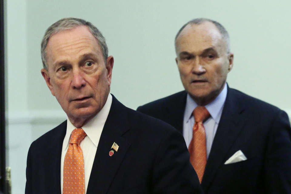 Photo - New York Mayor Michael Bloomberg, left, and Police Commissioner Raymond Kelly arrive for a news conference, Thursday, April, 25, 2013 in New York. The two say the Boston Marathon bombing suspects intended to blow up their remaining explosives in Times Square. (AP Photo/Mark Lennihan)