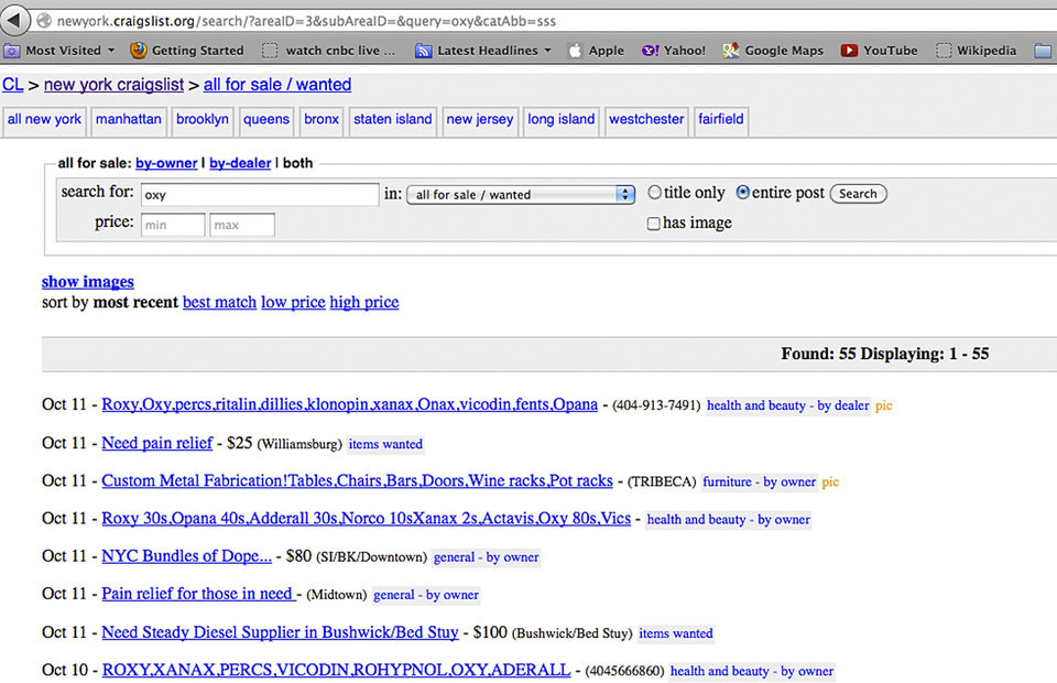 Photo -   This photo of a computer screen shows a list of Craigslist ads, including several for drugs, in New York, Thursday, Oct. 11, 2012. The New York Police Department has arrested people to make an example out of some of the smallest of small-time drug dealers: students, young professionals and others who clean out the medicine cabinet and then are brazen enough — and foolish enough — to offer the pills for up to $20 a pop over the Internet, in ads such as this one. (AP Photo/Richard Drew)