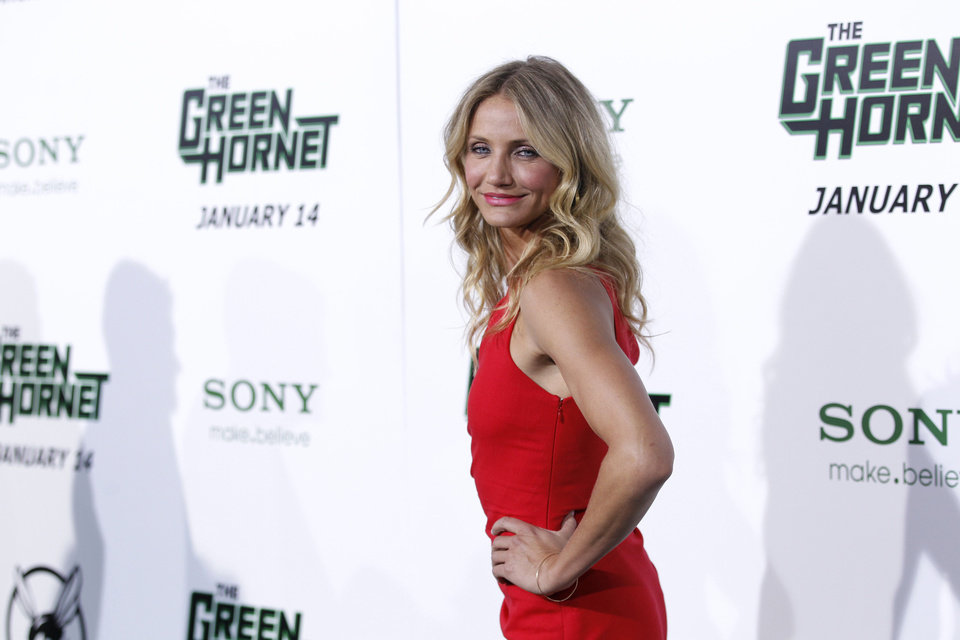 "Cameron Diaz arrives at the premiere ""The Green Hornet"" in Los Angeles, on Monday, Jan 10, 2011.  (AP Photo/Matt Sayles)"