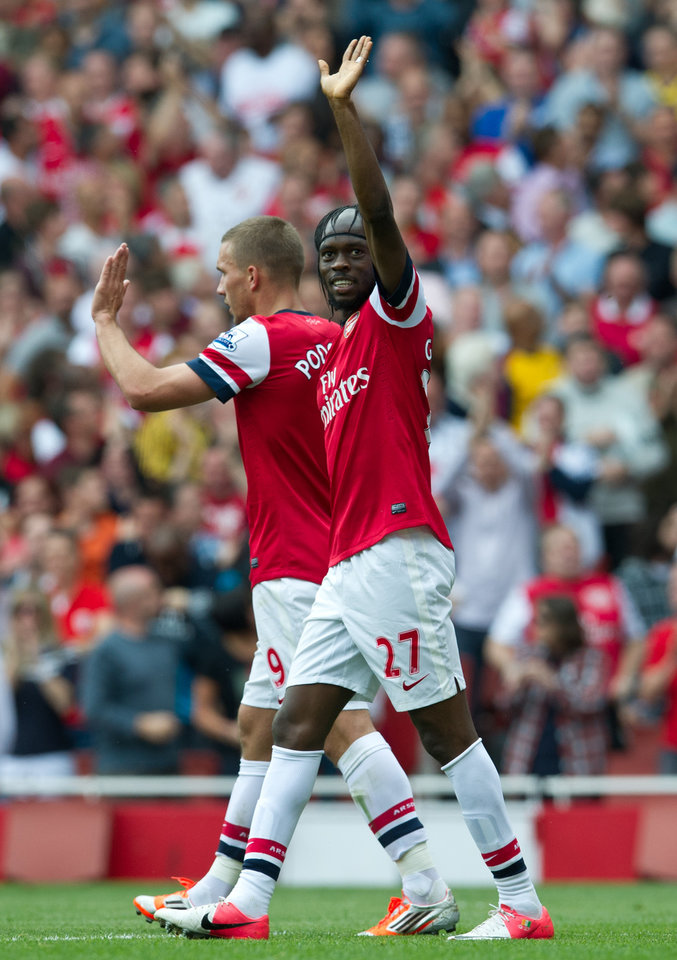 Photo -   Arsenal's Gervinho reacts after scoring against Southampton during their English Premier League soccer match at the Emirates stadium, London, Saturday, Sept. 15, 2012. (AP Photo/Tom Hevezi)