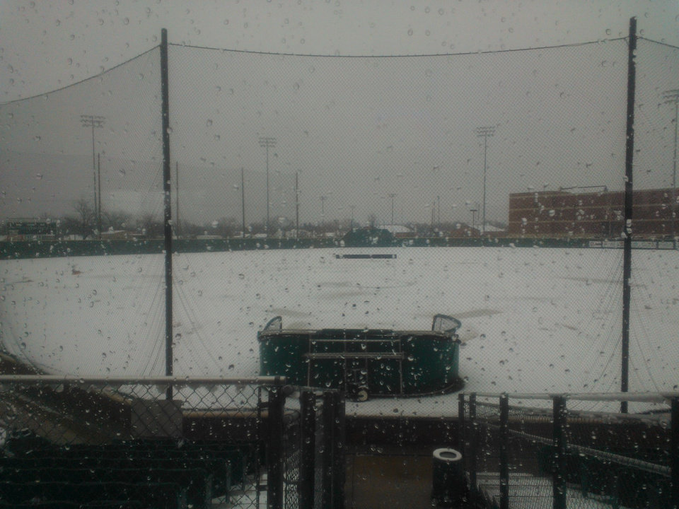 It\'s obvious why Oklahoma City University won\'t be playing its baseball game originally scheduled for Wednesday. Here\'s Jim Wade Stadium under snow Tuesday.