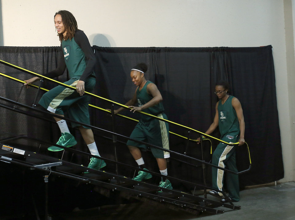 Baylor's Brittney Griner, Odyssey Sims and Brooklyn Pope arrive for a press conference during the press conference and practice day at the Oklahoma City Regional for the NCAA women's college basketball tournament at Chesapeake Energy Arena in Oklahoma City, Saturday, March 30, 2013. Photo by Sarah Phipps, The Oklahoman