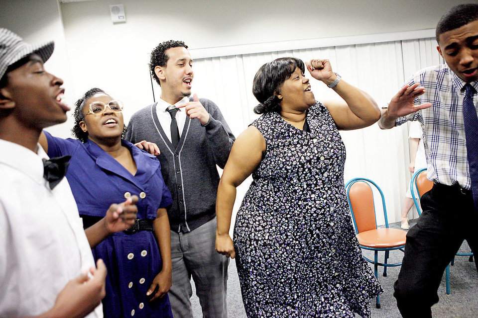"From left, Quincy Allen, Eboni Wilson, LaCharles Purvey, Trena Brown and Chris Shepard rehearse Feb. 1 for the Rhythmically Speaking presentation of ""Sitting In with Clara"" the Belle Isle Library. Photos by Bryan Terry, The Oklahoman"