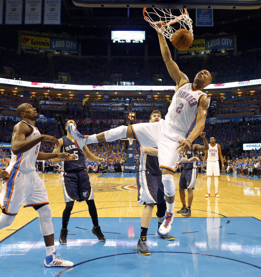 Photo - Oklahoma City's Caron Butler (2) dunks the ball in the fourth quarter during Game 1 in the first round of the NBA playoffs between the Oklahoma City Thunder and the Memphis Grizzlies at Chesapeake Energy Arena in Oklahoma City, Saturday, April 19, 2014. Photo by Nate Billings, The Oklahoman
