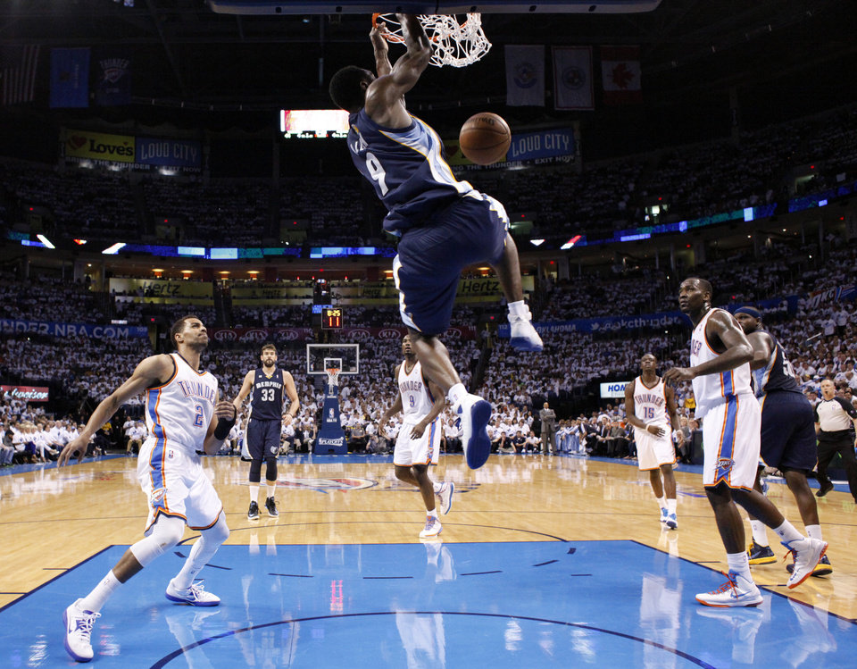 Tony Allen (9) dunks the ball during Game 5 in the second round of the NBA playoffs between the Oklahoma City Thunder and the Memphis Grizzlies at Chesapeake Energy Arena in Oklahoma City, Wednesday, May 15, 2013. Photo by Sarah Phipps, The Oklahoman
