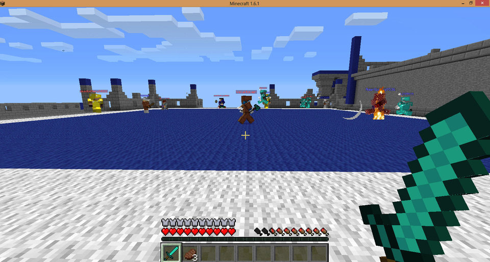Photo - A player's Minecraft character, depicted here in the lower right with a sword, enters a Minecraft server, ready for battle in this screen shot.