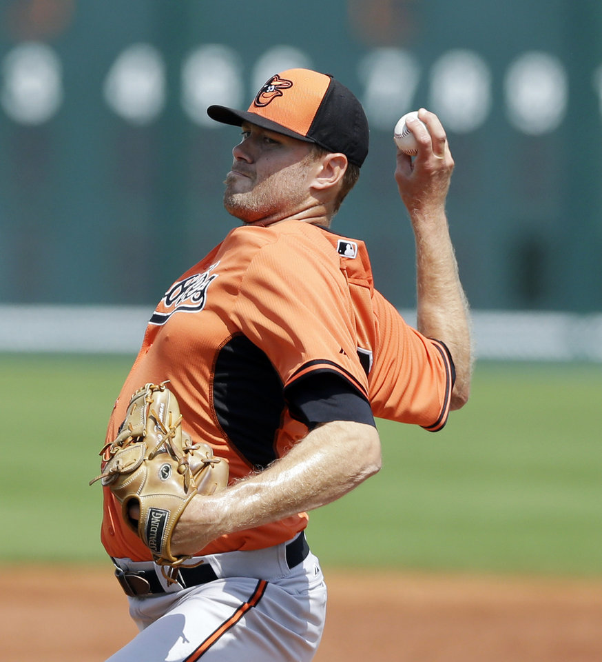 Photo - Baltimore Orioles starting pitcher Chris Tillman throws during the first inning of a spring exhibition baseball game against the Pittsburgh Pirates in Bradenton, Fla., Monday, March 10, 2014. (AP Photo/Carlos Osorio)