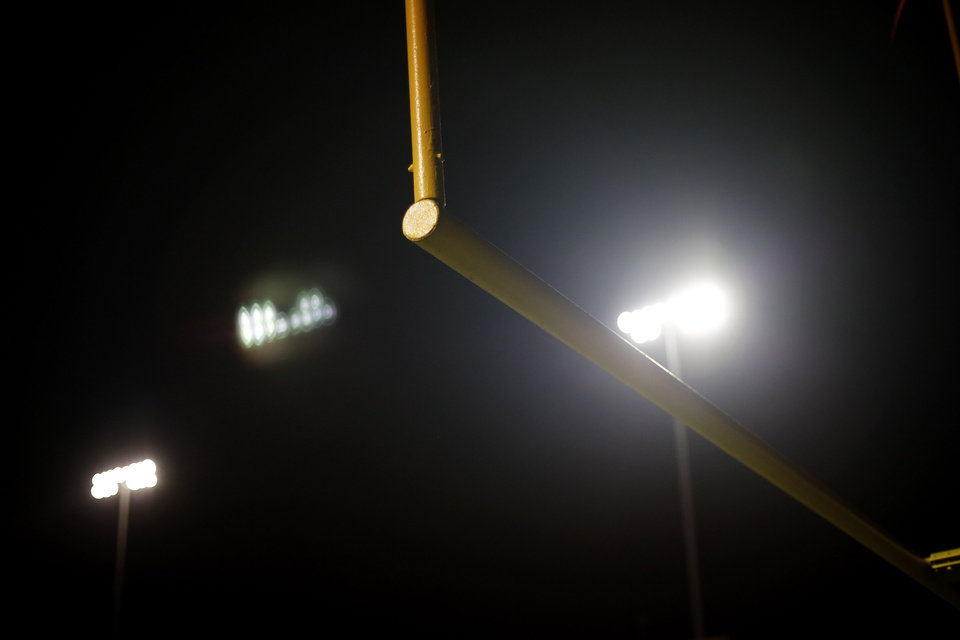 Goal post in the south end zone at the Northwest Classen vs. Western Heights high school football game at Taft Stadium Thursday, September 20, 2012. Photo by Doug Hoke, The Oklahoman