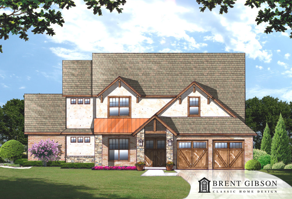 Photo -  This drawing shows the front elevation of the Brent Gibson design that includes two suites with full bathrooms. PROVIDED BY BRENT GIBSON CLASSIC HOME DESIGN