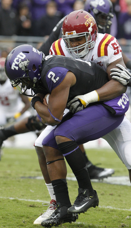 Photo -   TCU quarterback Trevone Boykin (2) is sacked by Iowa State linebacker Jared Weaver (58) during the first half of an NCAA college football game on Saturday, Oct. 6, 2012, in Fort Worth, Texas. Iowa State won 37-23. (AP Photo/LM Otero)