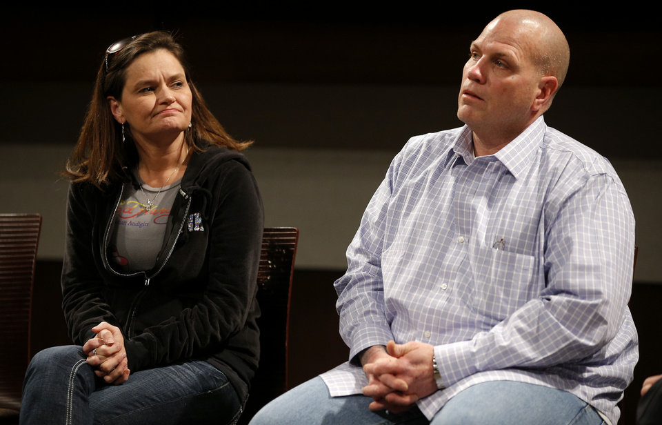 Photo - Holly Wethington sits next to Joe Wethington during a press conference about the skydiving accident that badly injured their daughter Makenzie, 16, of Joshua, Texas, at the OU Medical Center in Oklahoma City, Tuesday, Jan., 28, 2013. Makenzie and her father, Joe, traveled from Joshua, Texas, to Chickasha, Okla., on Saturday to skydive. Photo by Bryan Terry, The Oklahoman
