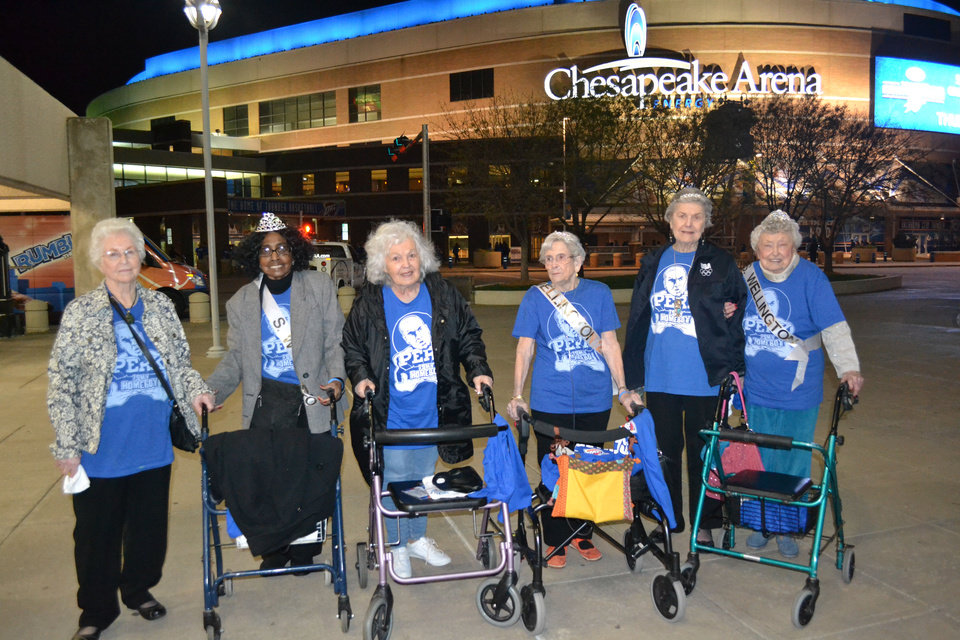 Residents of The Wellington of OKC who attended a Thunder game at the invitation of Kendrick Perkins were, from left, Clara Bryan, Marilyn Pope, Gloria Baker, Doris Sutton, Betty Collins and Helen O\'Neal. The women were contestants and winners in the Ms. Wellington Pageant. PHOTO PROVIDED