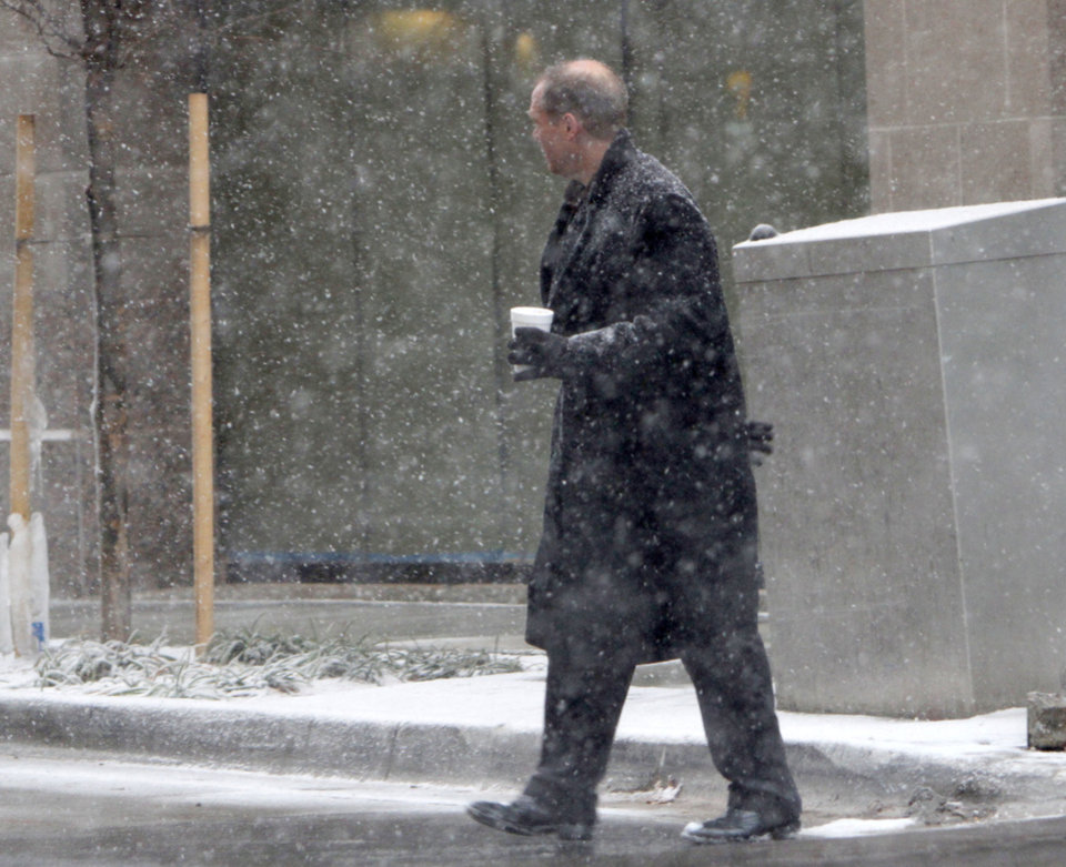 Snow falls in downtown Oklahoma City, OK, Friday, December 28, 2012,  By Paul Hellstern, The Oklahoman