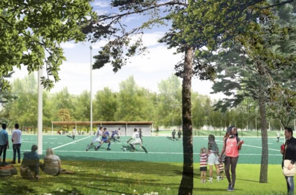 Photo - The lower park will have a soccer field. Construction is expected to last throughout 2021 and be complete in 2022. {Hargreaves/City of Oklahoma City]