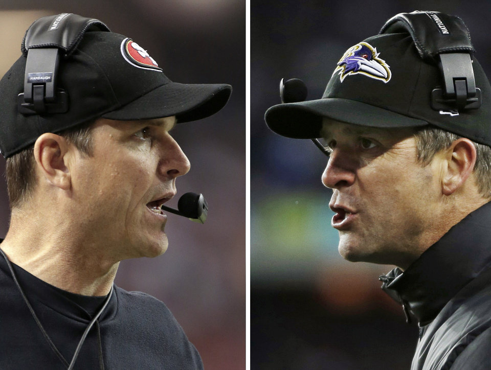 Photo - File - In these Sunday, Jan. 20, 2013, file photos, San Francisco 49ers head coach Jim Harbaugh, left, in Atlanta, and Baltimore Ravens head coach John Harbaugh in Foxborough, Mass., coach during their NFL football conference championship games. The entire Harbaugh family already got its Super Bowl victory last Sunday, when each coach did his part to ensure a family reunion in New Orleans next week. The Ravens face off against the 49ers in the first Super Bowl coached by siblings on opposite sidelines.(AP Photos/Mark Humphrey, left, and Matt Slocum, File) ORG XMIT: FX104