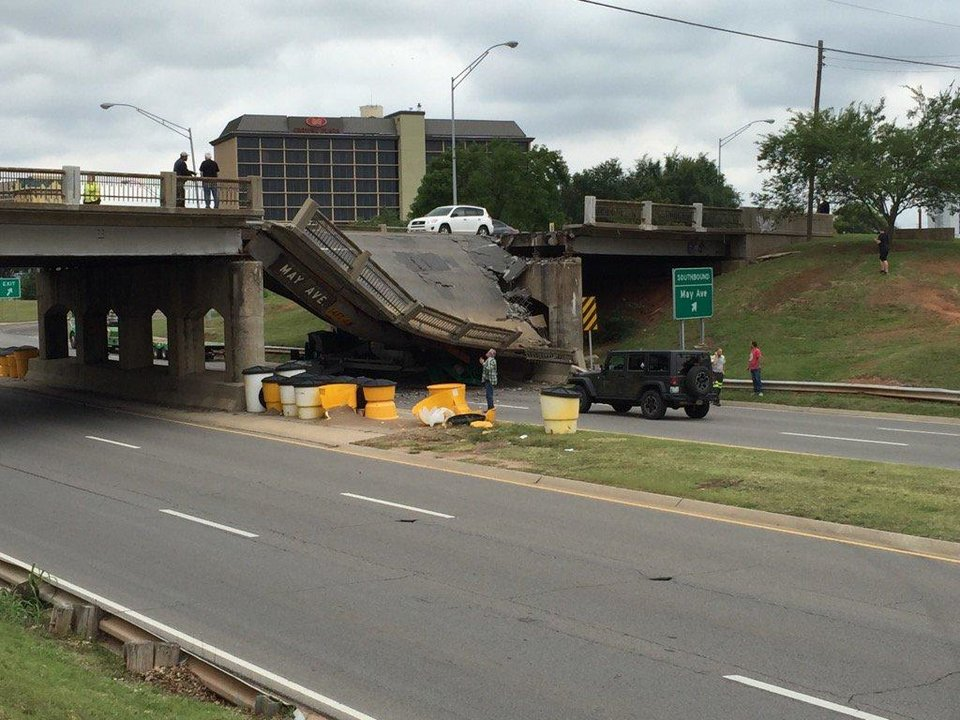 Photo - A section of a bridge collapsed Thursday on NW Expressway and May. Photo courtesy of Brett Selby