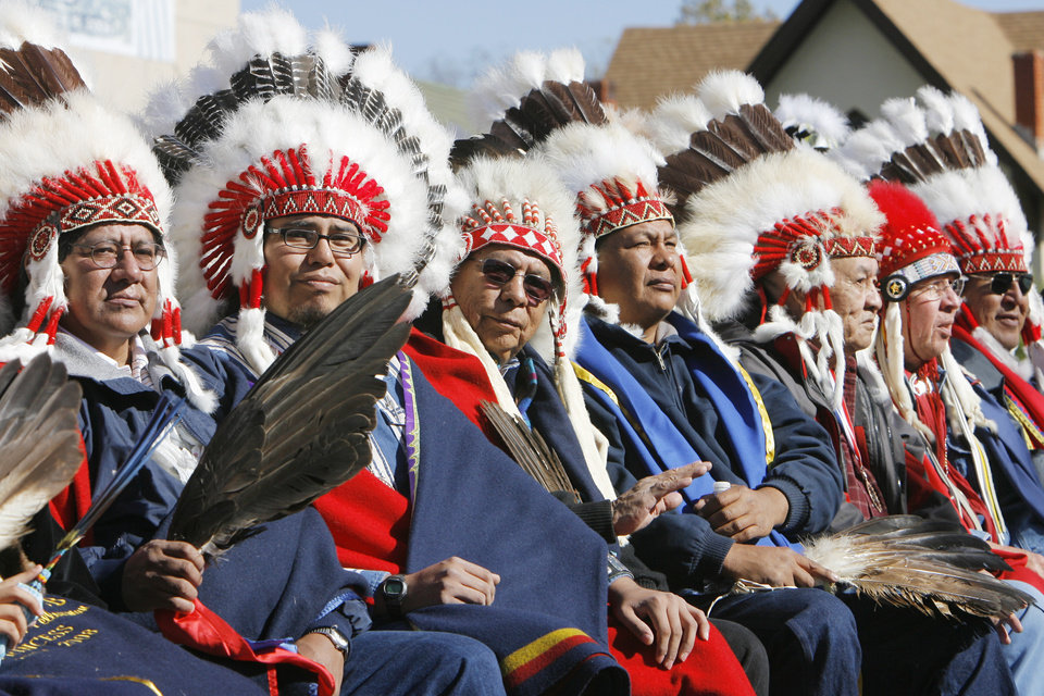 Photo - Native American tribal leaders on a float in the Guthrie Centennial parade, Friday, November 16, 2007.  By David McDaniel, The Oklahoman