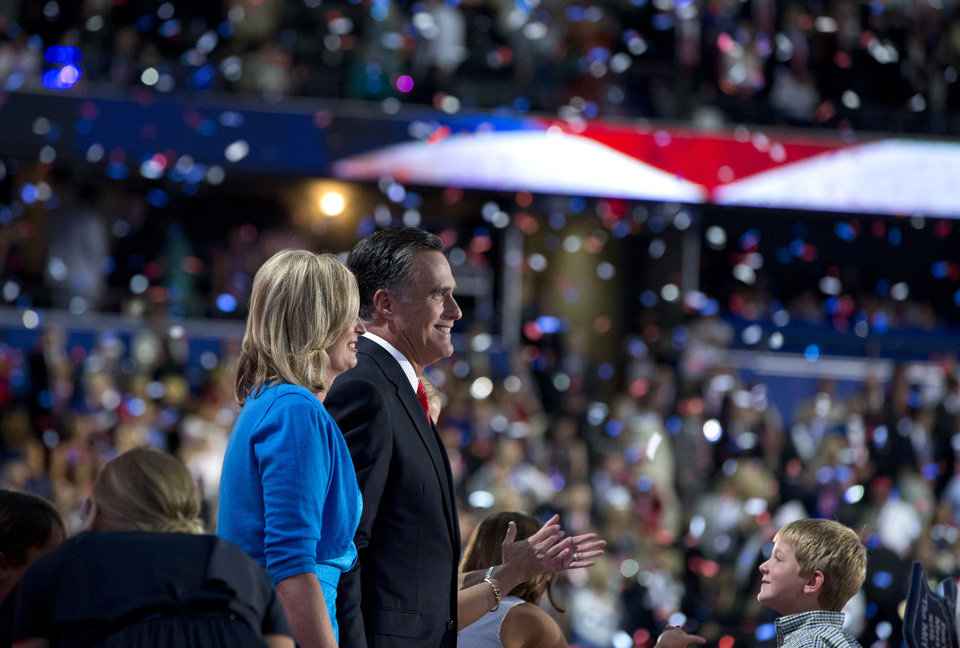 Photo -   Republican presidential candidate, former Massachusetts Gov. Mitt Romney stands with his wife Ann, after delivering a speech to the Republican National Convention on Thursday, Aug. 30, 2012 in Tampa, Fla. (AP Photo/Evan Vucci)