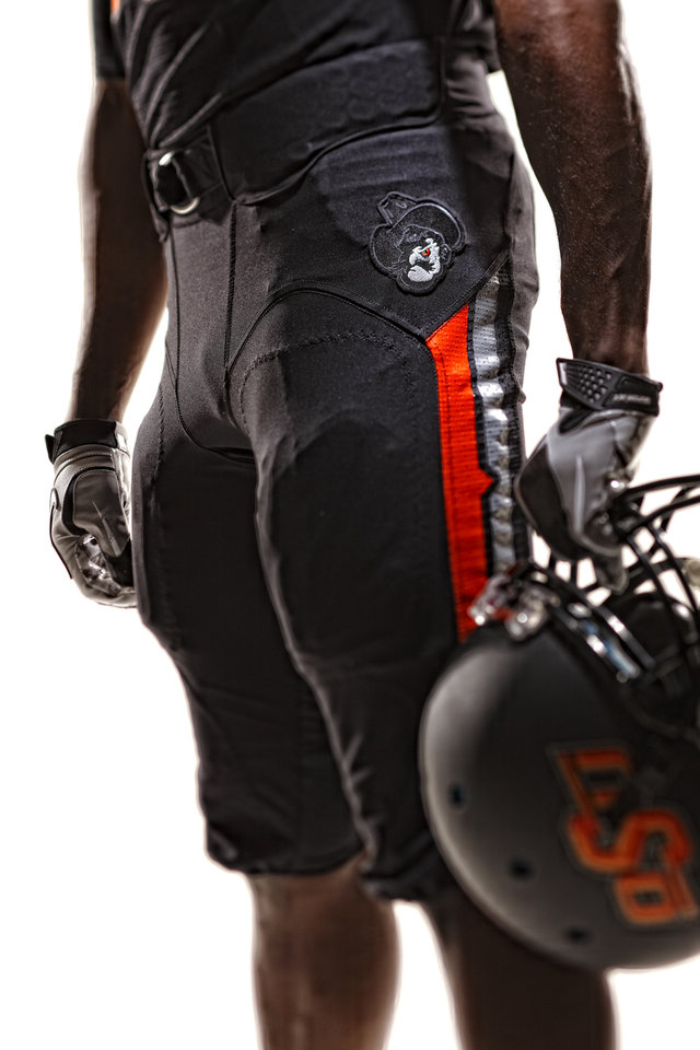Oklahoma State\'s new black pants with the new Pistol Pete logo. PHOTO PROVIDED