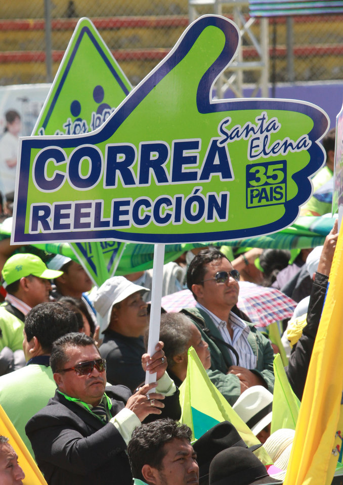 Supporters of Ecuador's President Rafael Correa attend an Alianza Pais convention rally where Correa announced his re-election bid for the upcoming February election and introduced his running mate Jorge Glas, former minister of Strategic Coordination, in Quito, Ecuador, Saturday, Nov. 10, 2012. (AP Photo/Martin Jaramillo)
